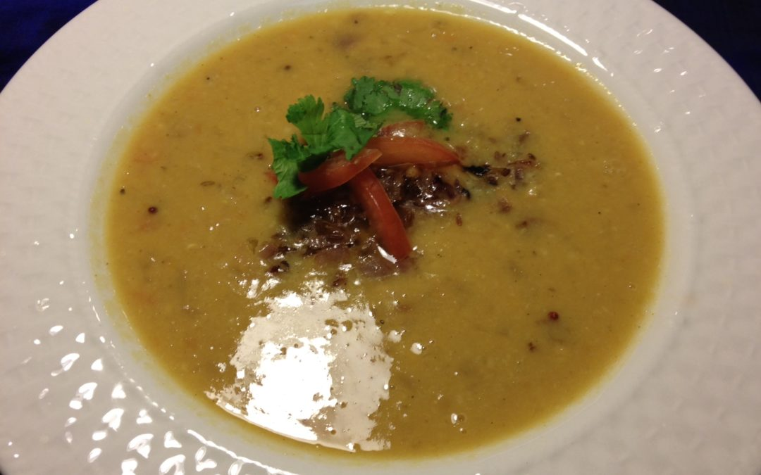 Lentil Soup with caramelized onions, toasted cumin and coriander.