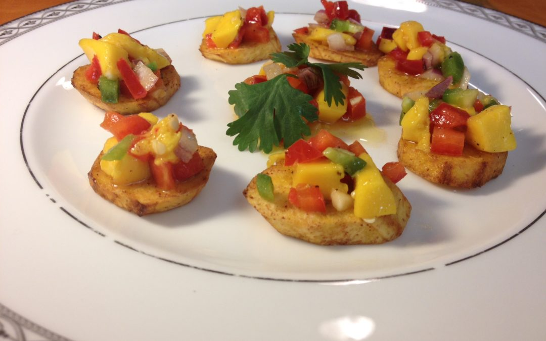 Home made Plantain Chips with Mango Salsa & Hot Jalapeno