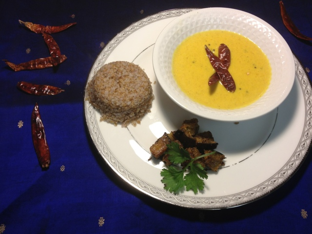 Mango Coconut Soup with spicy baked Eggplant & Bulgur Wheat