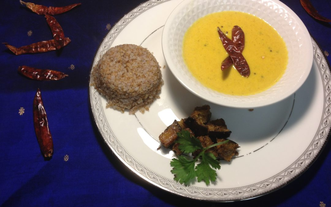 Recipe: Mango Coconut Soup with spicy baked Eggplant and Bulgur Wheat