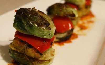 Baked Brussel Sprouts Kebabs or burgers